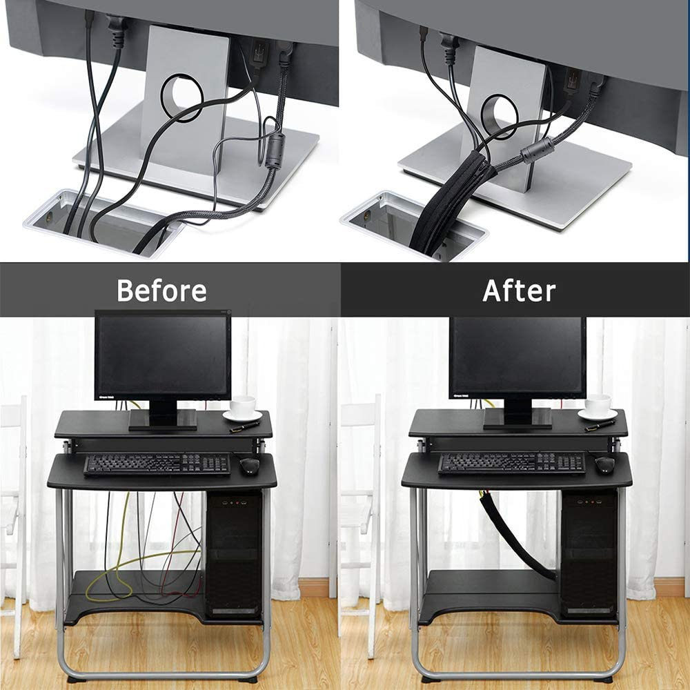 Gestion des C/âbles pour TV//Ordinateur//Audio Manchons Protection- Flexible et R/éutilisable CTB501 uphere Gaine des C/âbles en N/éopr/ène 19.5 inch Organisateur du C/âble avec Fermeture Eclair