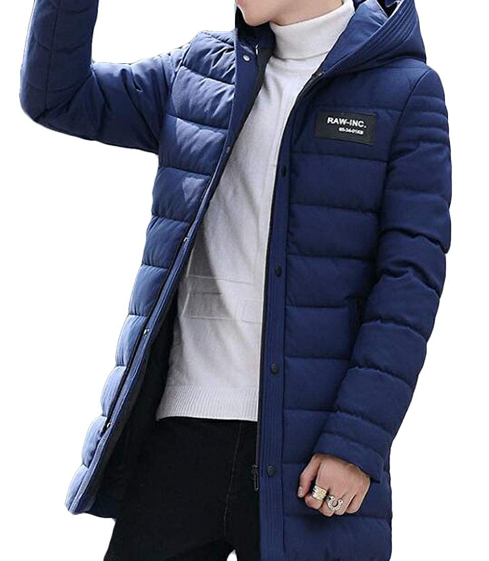 Pivaconis Mens Thicken Winter Longline Casual Hooded Puffer Down Jacket Insulated Coat