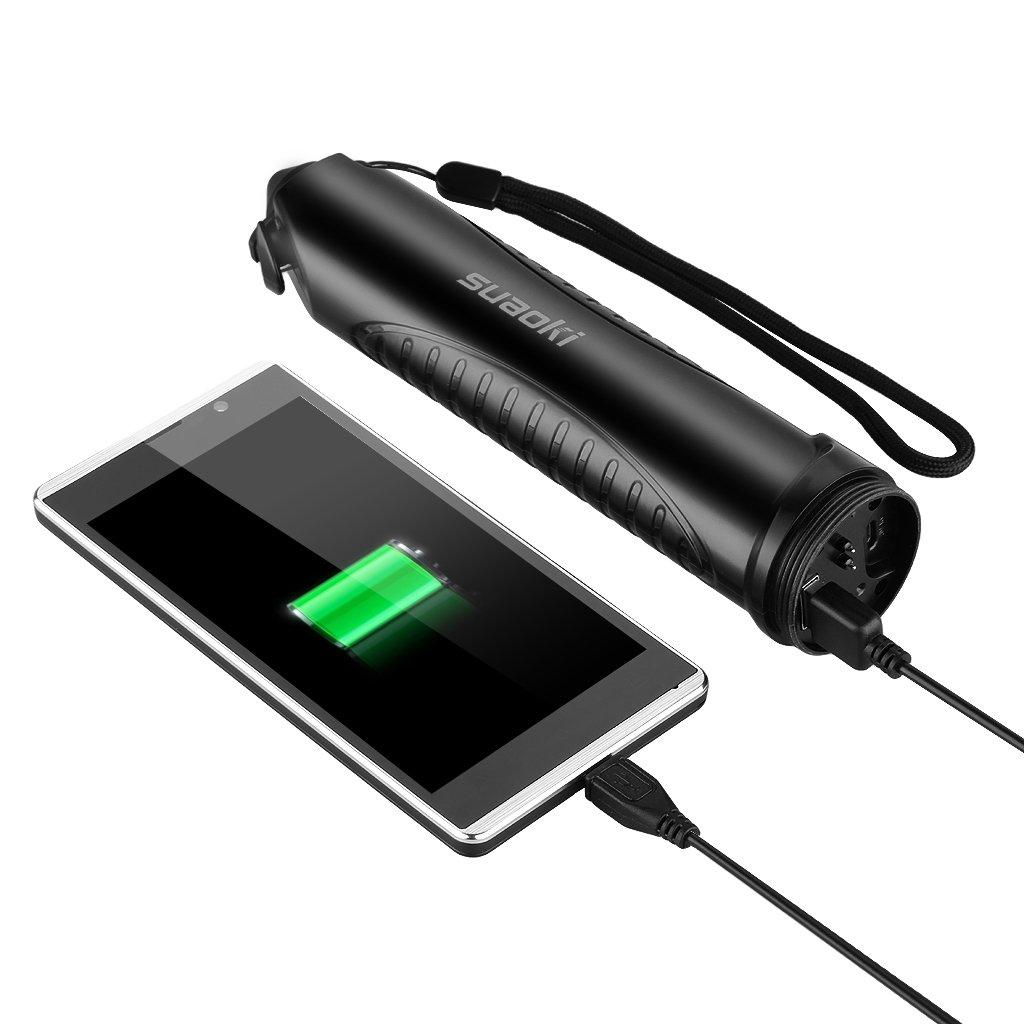 Suaoki TC6 - 10000mAh Linterna LED Recargable Impermeable IPX6 (Cargador Batería Externa, Martillo de Emergencia, Cortador cinturón seguridad, Carga ...