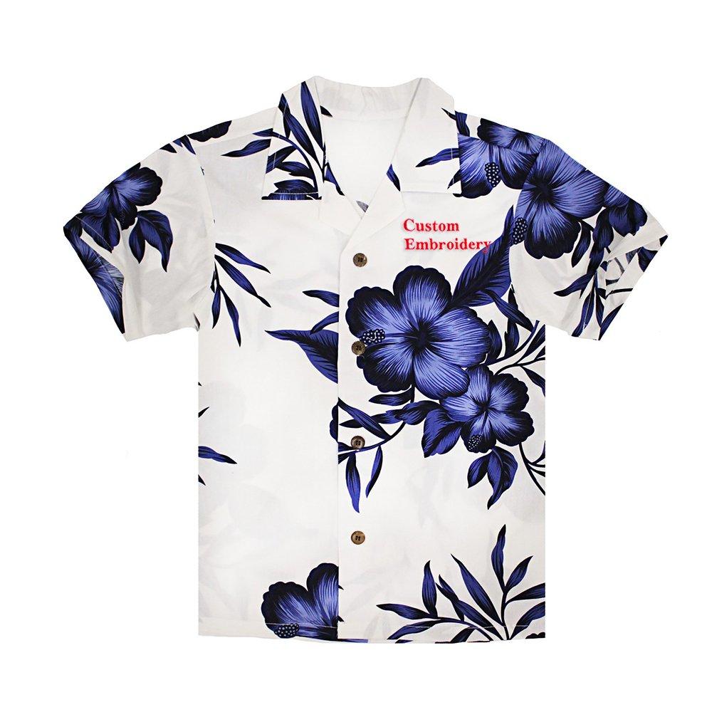 Boy Hawaiian Aloha Luau Shirt and Shorts 2 Piece Cabana Set in White Navy Floral 049113S