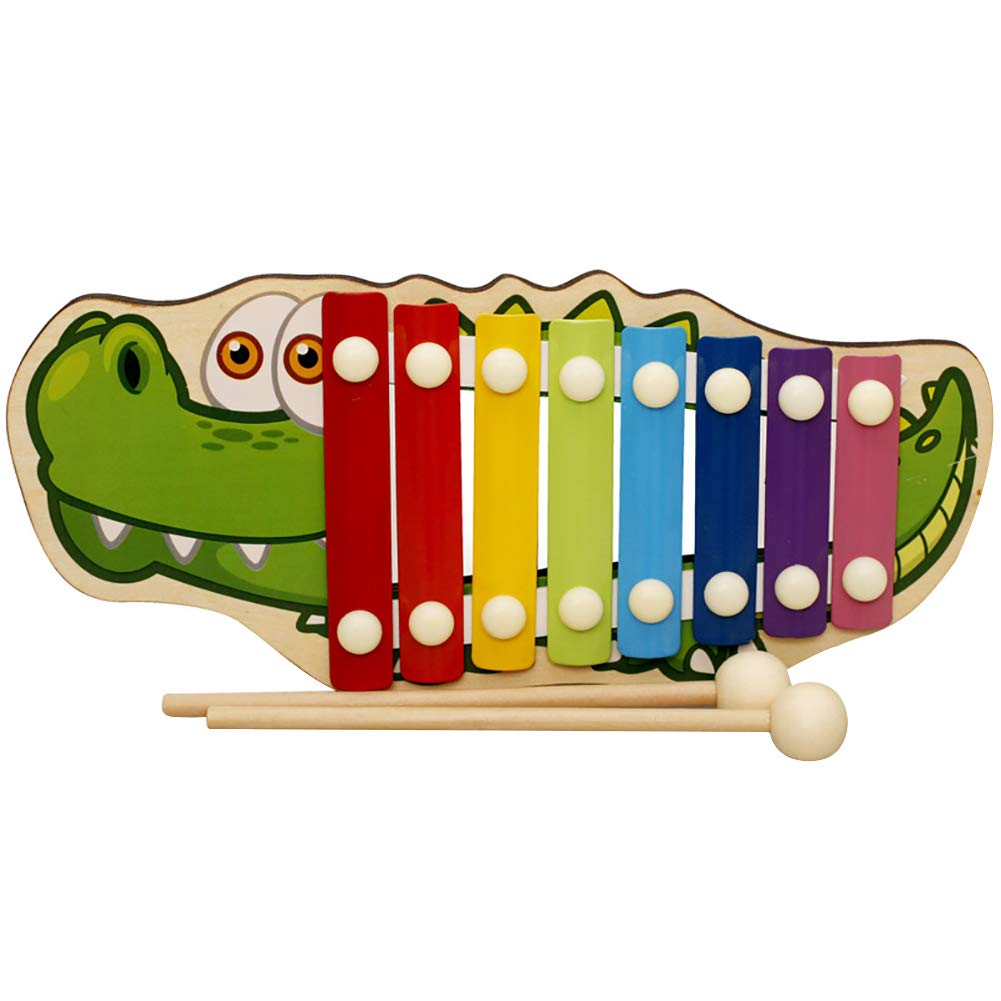 NUYI Wooden Cartoon Animal Octave Xylophone Children Percussion Instrument Early Education Preschool Educational Toys,Crocodile by NUYI