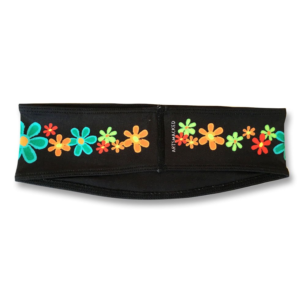 ArtSmackedByCherTM Wide Flower Sports Headband for Women. Moisture Wick Absorbs Sweat. A Polyester/Spandex Athletic Sportsband, Non-Slip, Cooling, Fashionable. Great for Gym, Running, Yoga, Crossfit. by ArtSmackedByCher(TM) (Image #3)