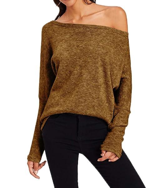 Otoño Invierno Mujeres Suéter Moda Oblicuo Hombro Jerséis de Manga Larga Pulóver Prendas de Punto Tops Sweater Blusa Jerseys: Amazon.es: Ropa y accesorios