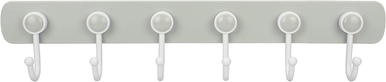 WISH Adhesive Wall Hook Plastic Coat Hat Key Bathroom Kitchen Utensil Hook Hanger - 6 Swivel Rotary Hooks, Gray