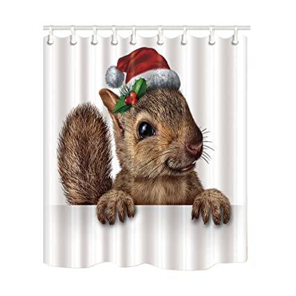 NYMB Christmas Bath Curtain Holiday Squirrel Wearing Santa Clause Hat With Holly And Red Berries