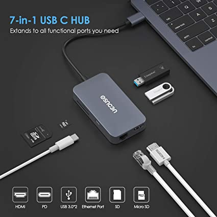UBS 3.0 Hub with TF//SD Multi//PD Charging SD//TF Card Reader//USB 3.0 for MacBook /& Other Type C Devices,Silver SONADY Type C Hub 7 In1