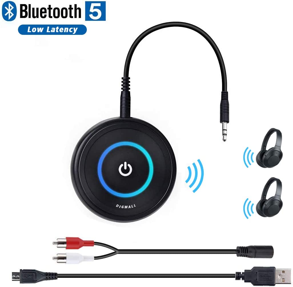 Amazon Com Digmall Bluetooth 5 0 Transmitter Receiver For Tv 2 In 1 Wireless Audio Adapter For Ps4 Xbox Pc Cd Dvd Radio Projector Car Home Stereo Headphones With 3 5mm Rca Aux Jack Dual