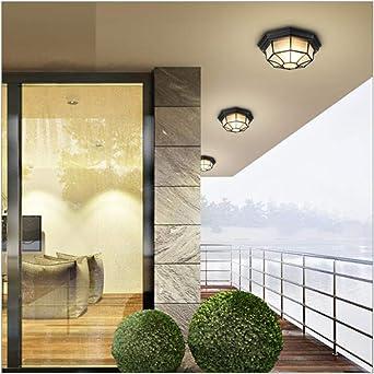 Baño LED Escalera exterior Poste 29 * 12cm Luz de techo Impermeable Lámpara de techo de jaula de metal retro Iluminación Colgante: Amazon.es: Iluminación