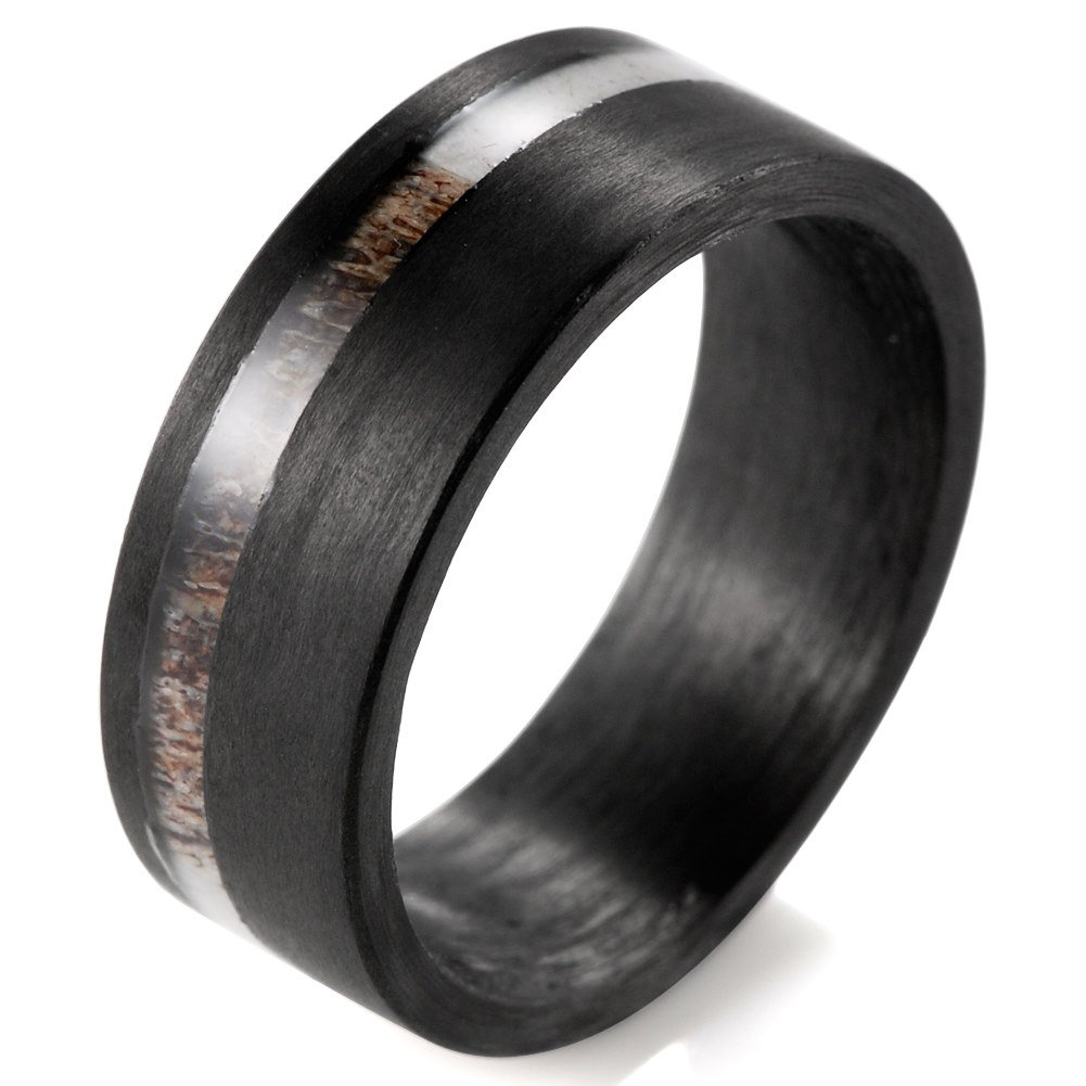 SHARDON Men's 8mm Flat Pure Carbon Fiber Ring with Real Deer Antler Inlaid Size 9