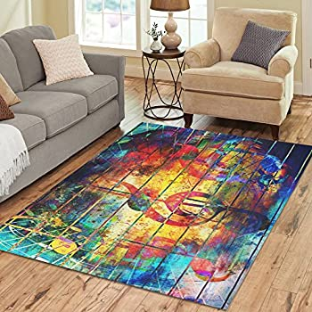 InterestPrint Abstract Colorful Music Note Area Rug Floor Mat 7' x 5' Feet,