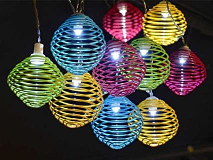 Set Of 10 Bright LED Solar Spiral Colourful Ball String Garden Outdoor  Party Patio Lights