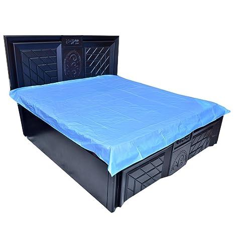 Deerosita Waterproof Plastic/PVC Mattress Protector (6.5x6 ft, Sky Blue)