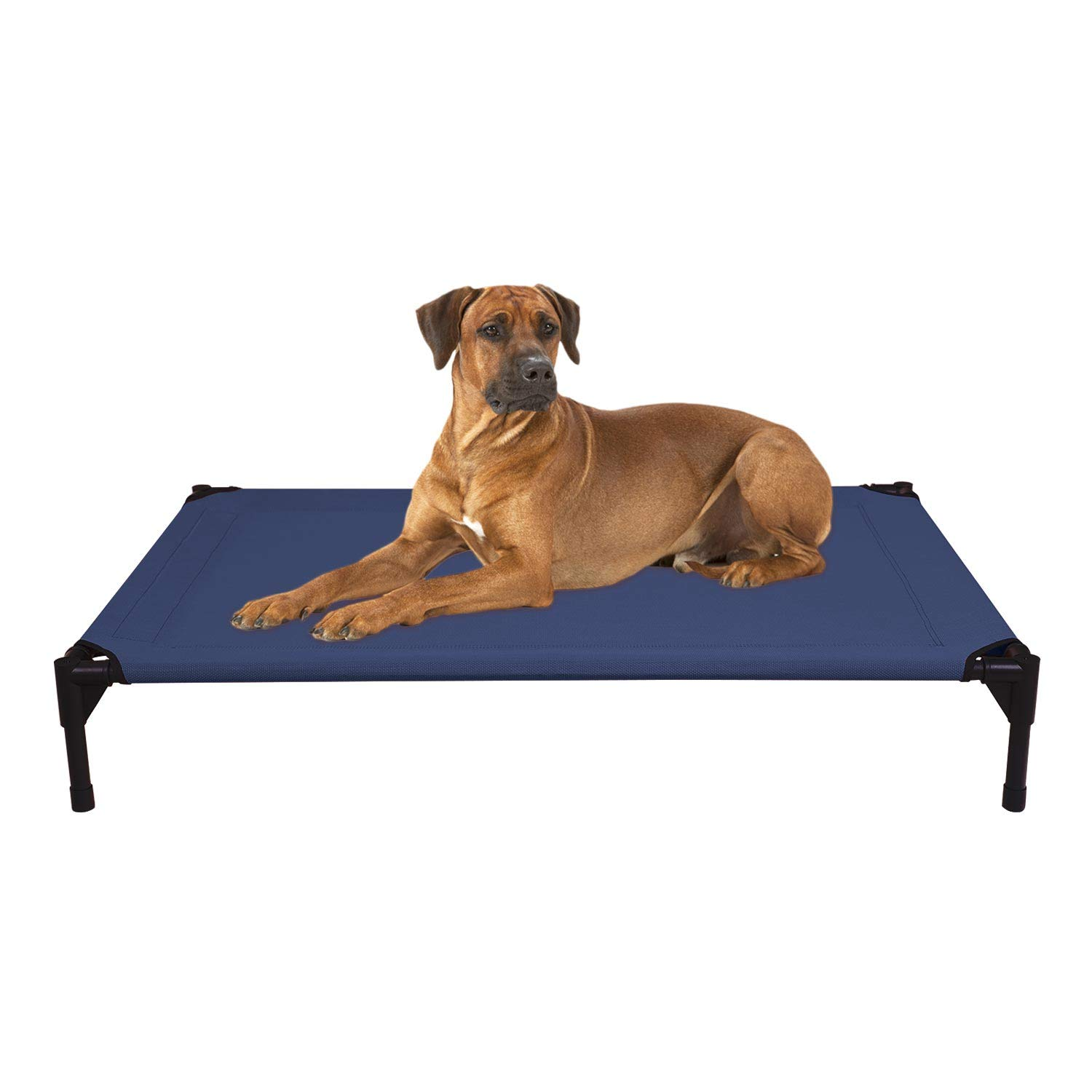 Veehoo Cooling Elevated Dog Bed, Portable Raised Pet Cot with Washable & Breathable Mesh, No-Slip Rubber Feet for Indoor & Outdoor Use, Large, Blue by Veehoo