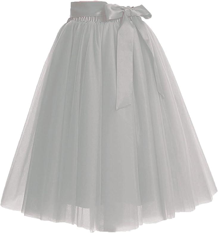 Xiongfeng Falda de Tul para Mujer, hasta la Rodilla, 4 Capas, con ...