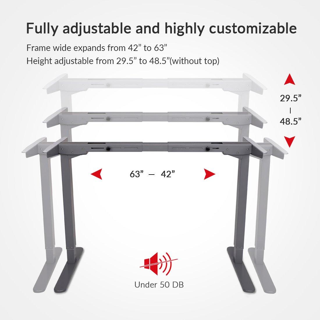 Loctek HAD2S Sit Stand Desk Frame Dual Motors Electric Height Adjustable Home Office Desk Base Silver