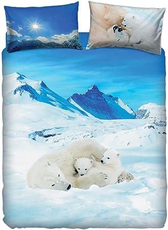 Copripiumino Singolo Bassetti Animali.Copripiumino Bears In The Snow Singolo Bassetti Sacco Cm 155x200