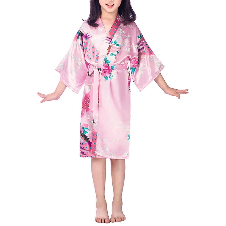 Abuyall Girl's Silk Satin Kimono Gown Kids Peacock Sleepwear Bathrobe