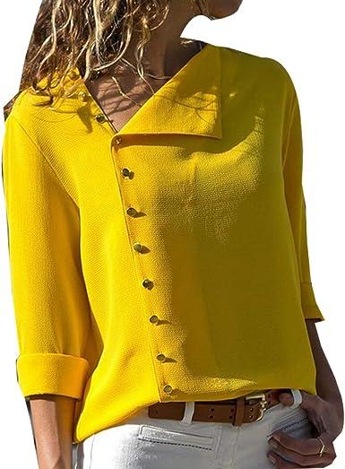 LYLXS Camisas Mujer Tallas Grandes, Moda Camiseta sólida Mujer chifón Blusas de Oficina de Manga Larga Lisa de Mujer Elegantes de Vestir Fiesta Camisetas Chica: Amazon.es: Ropa y accesorios