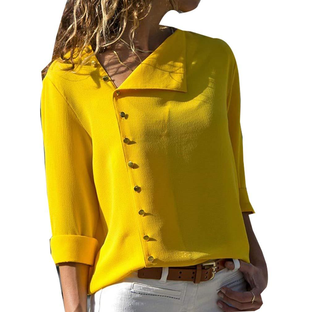 LYLXS Camisas Mujer Tallas Grandes, Moda Camiseta sólida Mujer chifón Blusas de Oficina de Manga Larga Lisa de Mujer Elegantes de Vestir Fiesta Camisetas ...