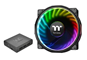 Thermaltake Riing Plus 20 RGB TT Premium Edition WITH Controller 200mm Software Enabled Circular 12 Addressable LEDs Sets (24 Addressable LEDs) 11 Blades RGB Riing Case/Radiator Fan Single Pack CL-F06
