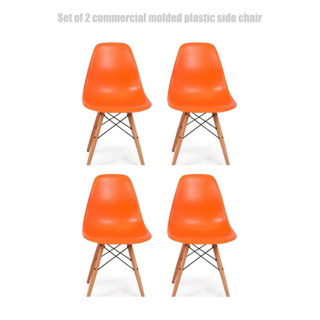 Classic Vintage Style Dining Chair Molded Plastic Flexible Backs Support Deep Seat Pockets Straight Wooden Dowel Legs Innovative Side Chair - Set of 4 Orange #1445