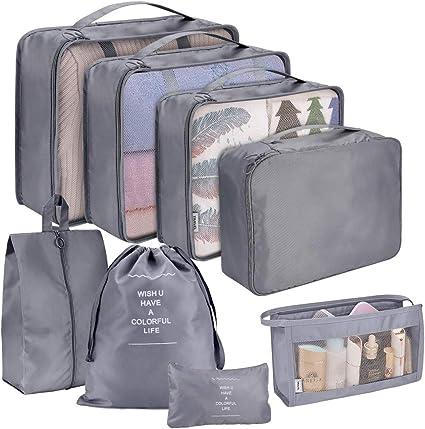Rojeam Koffer Organizer Set 8-teilig Reisetasche in Koffer W/äschebeutel Aufbewahrungstasche Kleidertaschen Gep/äck Aufbewahrung Taschen Blau