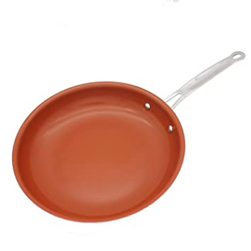 Sartén de cobre antiadherente de 8/10/11/12 pulgadas, sartén de cobre rojo con sartenes de cerámica de inducción, apta para horno y lavavajillas: Amazon.es: ...