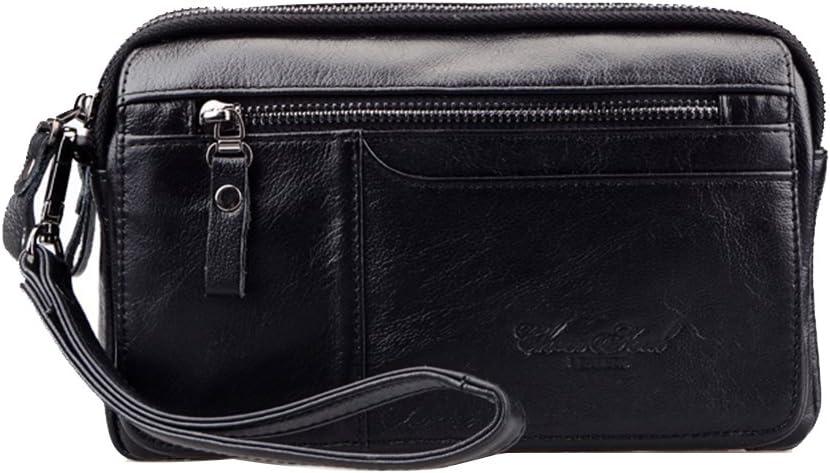 Genda 2Archer El Portador Portable del Teléfono Móvil del Bolso del Bolso de Mano de Cuero de los Hombres (23cm * 7cm * 14cm) (Negro)