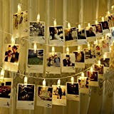 CtopoGo Photo Clips String Lights, USB Powered 40 LED Starry Light Wall Decoration Light for Wedding Party Home Decor Lights 6 M/19.6 ft,Warm White