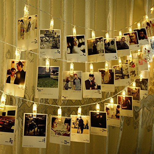 CtopoGo Photo Clips String Lights, USB Powered 40 LED Starry Light Wall Decoration Light for Wedding Party Home Decor Lights 6 M/19.6 ft,Warm White -