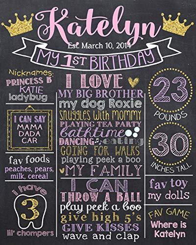 Dozili Personalized Princess First Birthday Chalkboard, Pink Purple and Glitter 1st Birthday Chalk Board Sign, Crown 1st Birthday Chalkboard Style Printable -