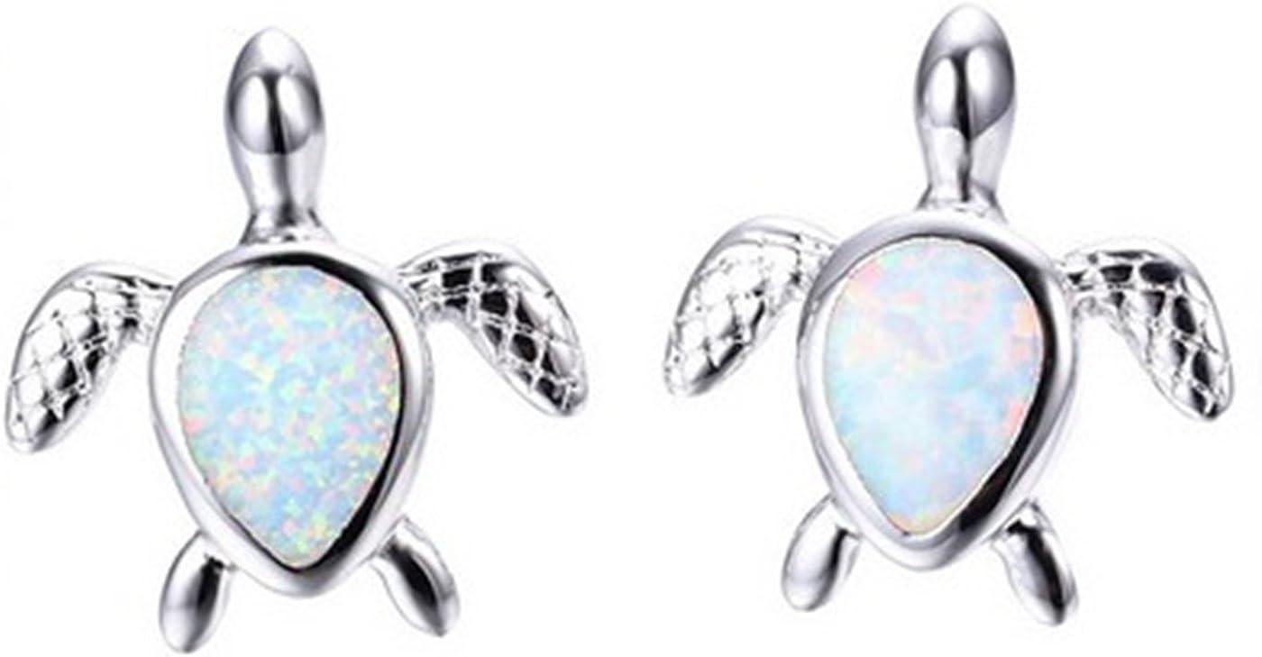 Fortonatori Created White Opal Turtle Earrings Stud Silver 925 size 0.35