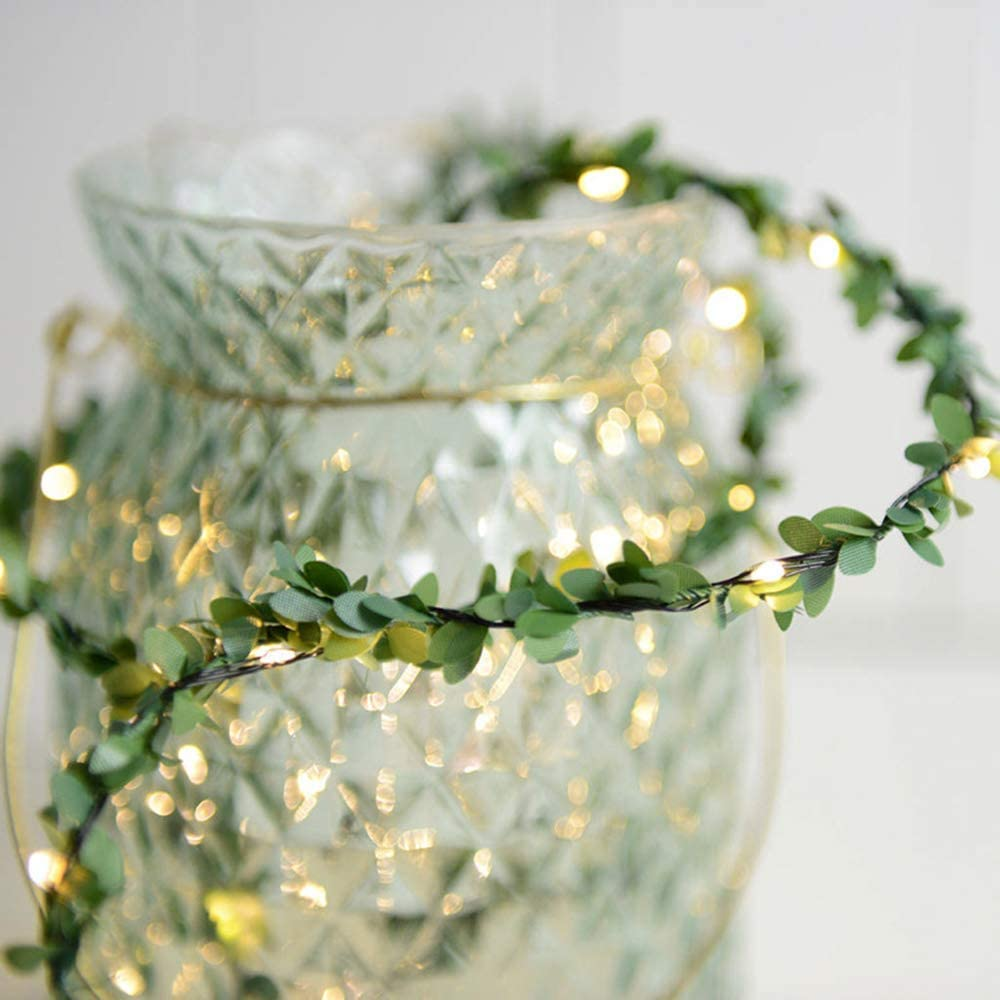 Leaf Garland LED String Lights 20LEDs Warm White Battery Powered Artificial Vine Fairy Lights for Christmas Wedding Holiday Garden Décor