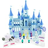 Boley Princess Castle Dollhouse - Small Plastic Doll House Pop-Up Castle Kit with Furniture and Front Lawn Miniatures - 19 Pi