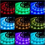 Led Strips Lighting Rxment 5M 16.4 Ft 5050 RGB 150LEDs Flexible Color Changing Full Kit with 44 Keys Remote Controller  Control Box  12V 2A Power Su