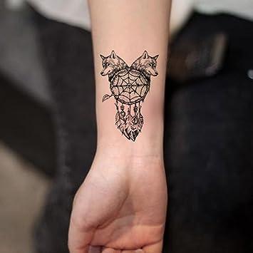 Diseño de lobo TAFLY Tatuajes Temporales indios de plumas de color ...