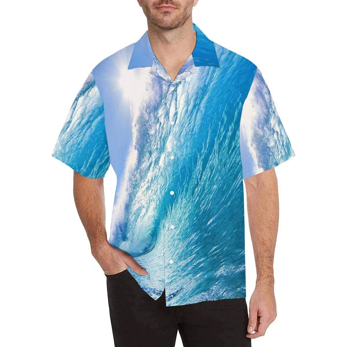 InterestPrint Blue Ocean Wave Shirts Short Sleeve Shirt