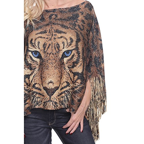 White Mark Trendy Plus Size Poncho Top Gold Tiger One Size Queen Will Fit 1 X 2X 3X (Gold)