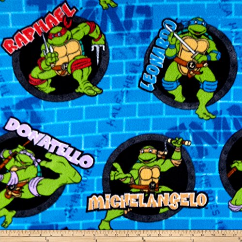 Springs Creative Products Nickelodeon TMNT Fleece Turtle Power Sewer Holes And Names Blue Fabric by the Yard]()