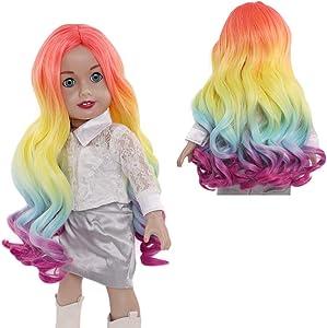 "MUZI WIG Doll Wig for 18"" American Doll, Rainbow Long Curly Doll Hair Wigs for 18'' Dolls"