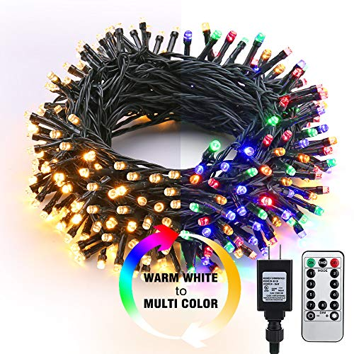 Brizled LED String Lights, 82ft 200 LED 9-Function Color Changing Warm White Multi Color Fairy Lights, Dimmable 24V Safe Adapter Decorative Lights with Timer & Remote for Bedroom, Wedding, Xmas Decor