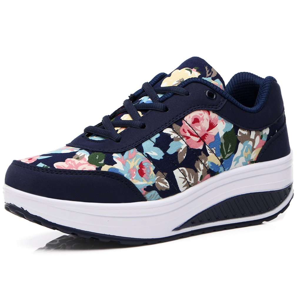 Solshine Damen Fashion Plateau Schnürer Sneakers mit Dunkel Keilabsatz Walkmaxx Schuhe Fitnessschuhe Dunkel mit Blau 7 d7303d