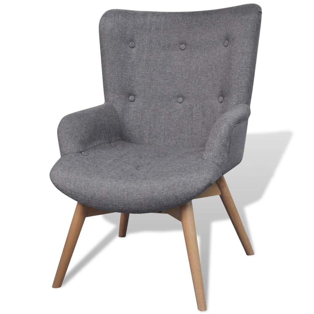vidaXL Poltrona relax imbottita con poggiapiedi colore grigio