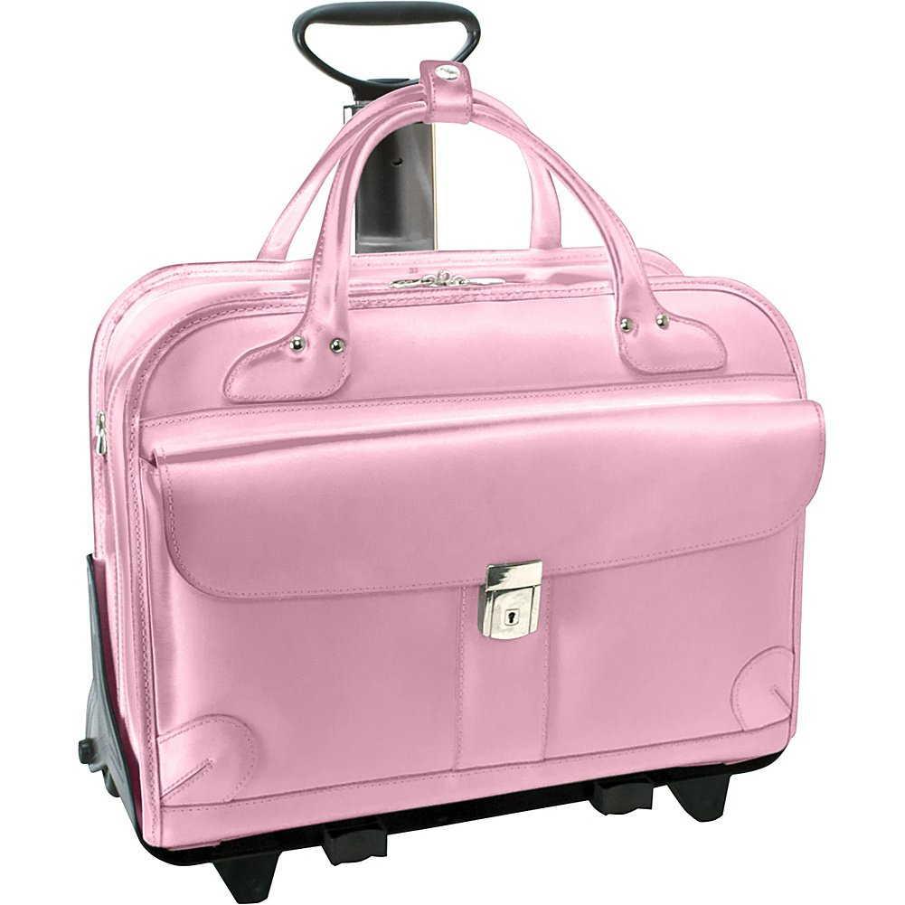 McKleinUSA LAKEWOOD 96619 Pink Leather Fly-Through Checkpoint-Friendly Detachable-Wheeled Ladies' Briefcase