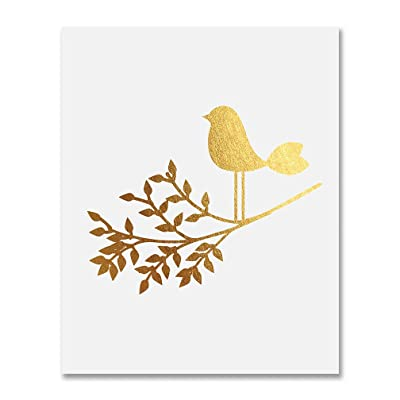 Bird on a Branch Gold Foil Art Print Baby Bird Decor Nursery Poster Girl's Room Modern Nature Decor 8 inches x 10 inches A30