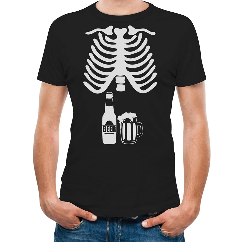 Amazon.com: Halloween Skeleton Beer Belly Xray Funny Men's T-Shirt: Clothing