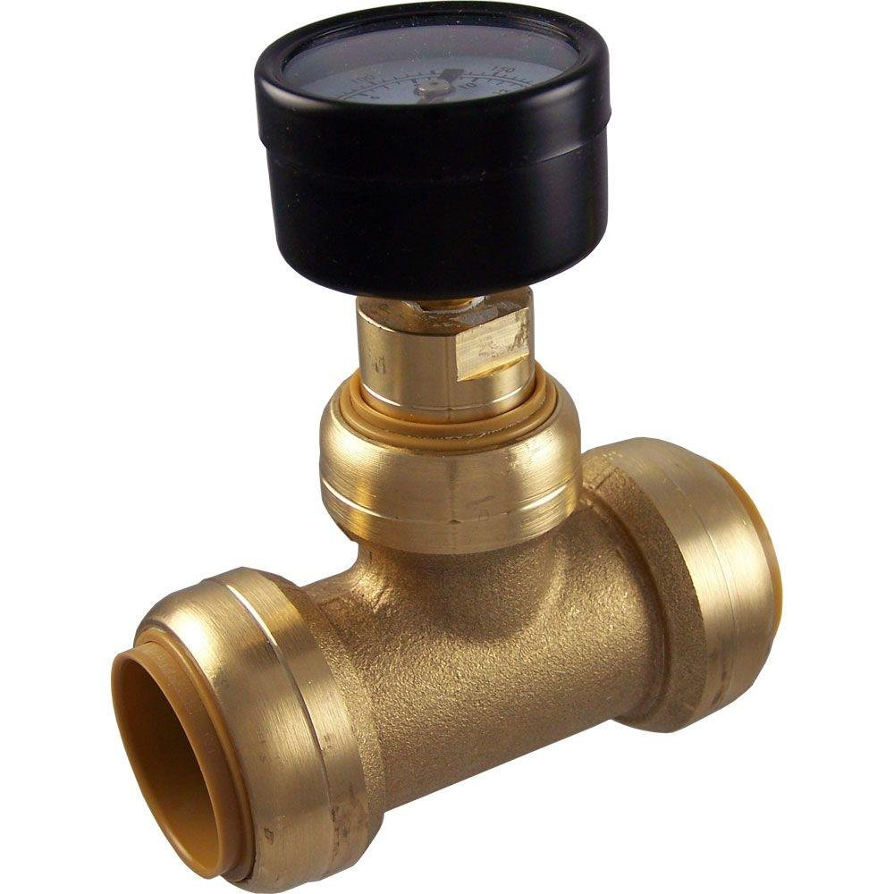 SharkBite 24440 Brass Push-to-Connect Tee with Water Pressure Gauge, 1''