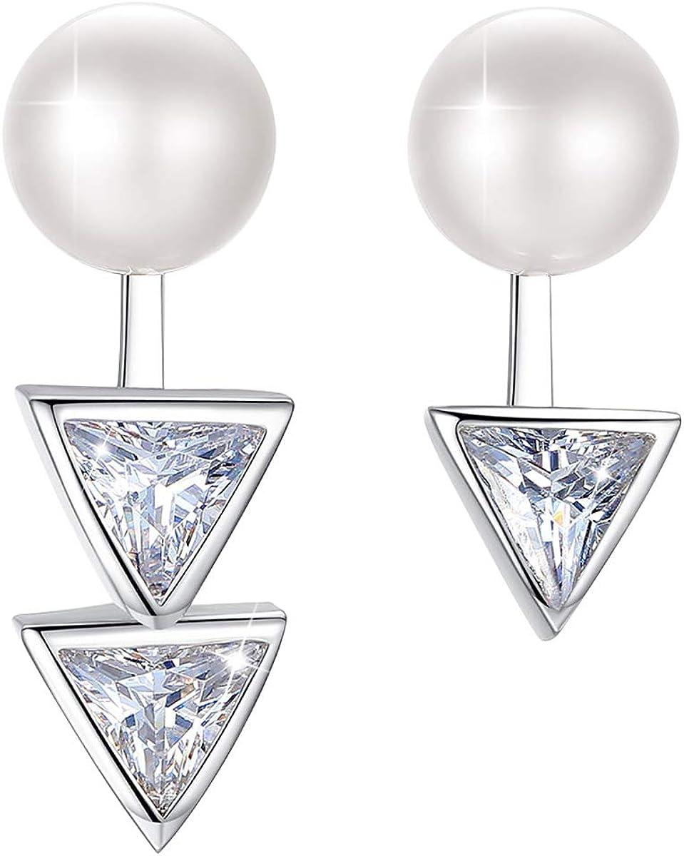 PEARLOVE Pendientes de tuerca de plata de ley 925 con perlas de agua dulce naturales para mujer, pendientes de gota asimétricos desmontables, regalo de joyería