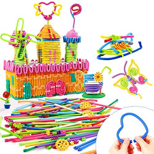Peradix Building Toys 111 PCS Flexible Building Sticks for Kids STEM Learning Toys Set Educational Activity, DIY Gift Soft Bendable Sculpting Sticks Motor Skill Toys Building Blocks with Storage Bag