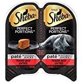 SHEBA PERFECT PORTIONS 2.6 oz. Pate - Tender Beef Entrée Wet Cat Food Trays - (24 Twin Packs) - Every Recipe Formulated Without Grain or Corn